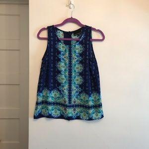 Cynthia Rowley Blue Pattern Top